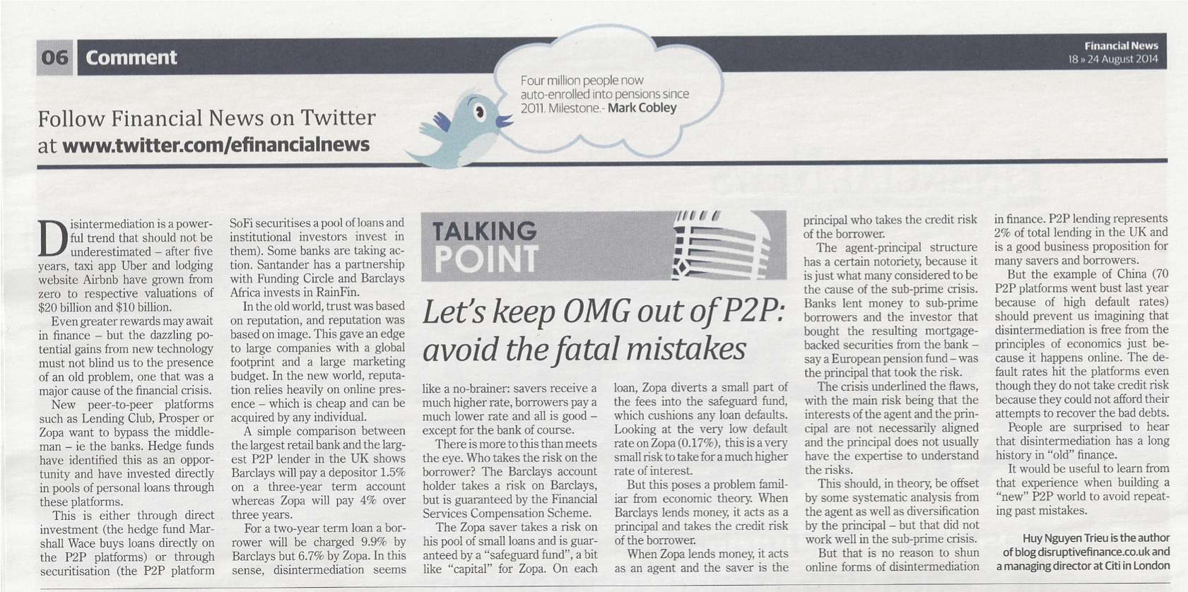 Financial News August 2014 - Let's keep OMG out of P2P